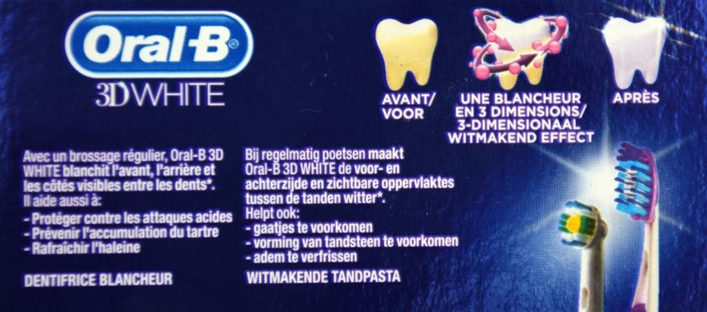 Dentifrice Oral-B 3D white brillance action blancheur