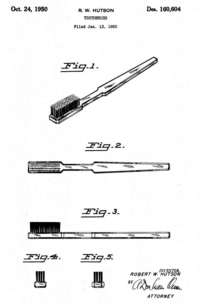 Le brevet de brosse à dents proposé par Dr Robert W. Hutson en 1950.