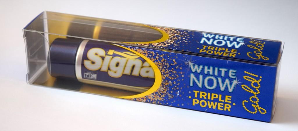 Dentifrice Signal White Now Gold carton