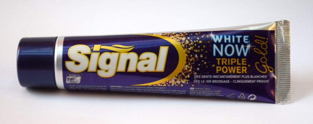 Le Rumbelle Dentifrice-Signal-White-Now-Gold-tube-1024x406