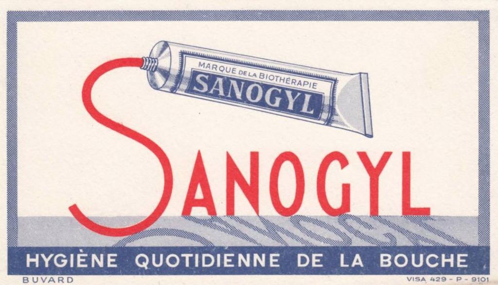 Sanogyl pub années 60 Dentifrice Papier Buvard 1